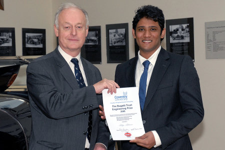 In November Bugatti Trust Chairman Hugh Conway was pleased to present top first year student Aditya Akkineni with his cheque and certificate for the Bugatti Trust Engineering Prize