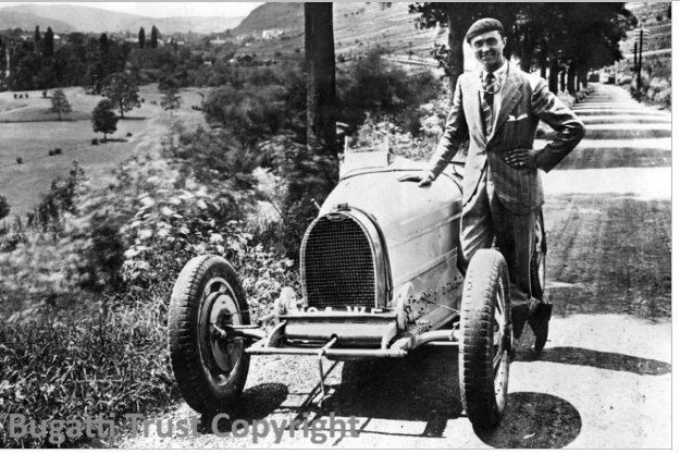 Louis Chiron at the roadside on the way to Saverne, Molsheim, testing Type 35B.